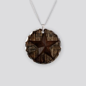 primitive  texas lone star c Necklace Circle Charm