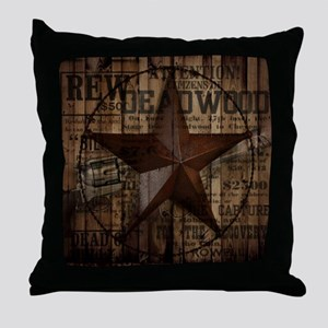 primitive  texas lone star cowboy Throw Pillow