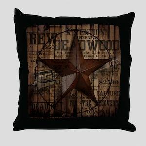 primitive  texas lone star cowboy Throw Pillow