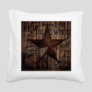 primitive  texas lone star co Square Canvas Pillow