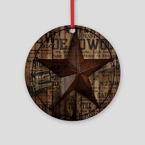 primitive  texas lone star cowboy Round Ornament