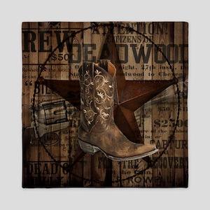 equestrian cowboy boots western  Queen Duvet