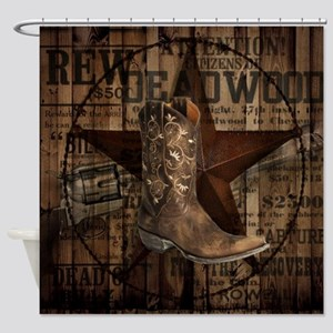 equestrian cowboy boots western  Shower Curtain