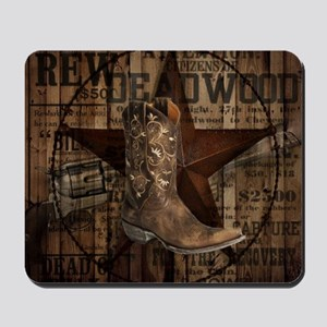 equestrian cowboy boots western  Mousepad