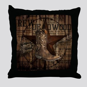 equestrian cowboy boots western  Throw Pillow