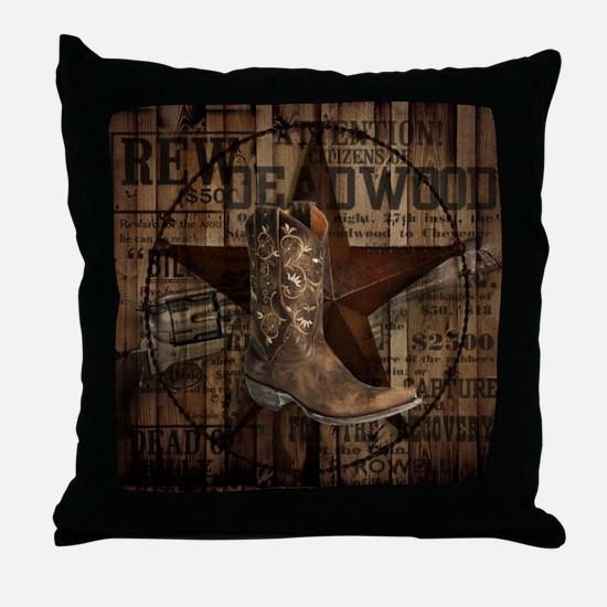 equestrian cowboy boots western  Throw Pillow