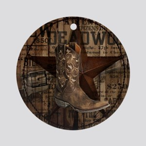 equestrian cowboy boots western  Round Ornament
