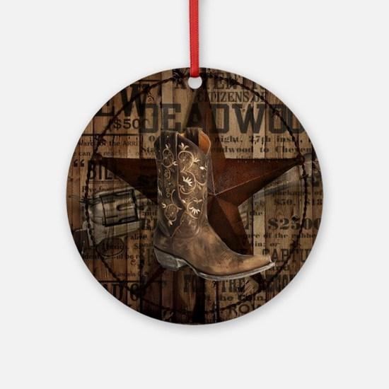 equestrian cowboy boots western  Round Ornament