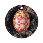 Pysanky In Furrow Ornament (round)