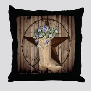 rustic barn texas cowgirl boots Throw Pillow