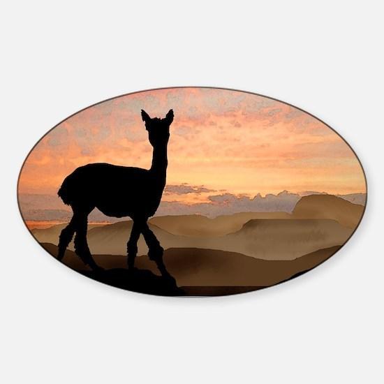 Alpaca Sunset Oval Decal
