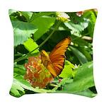 orange butterfly Woven Throw Pillow