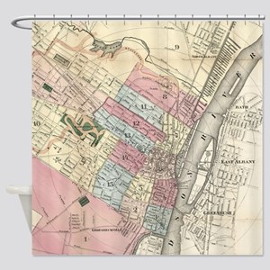 Vintage Map of Albany NY (1874) Shower Curtain