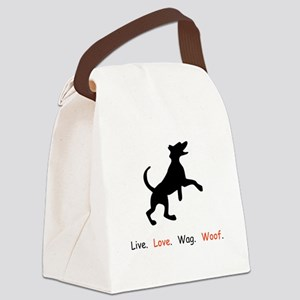 Live Love Wag Woof Dog Lover Gifts Canvas Lunch Ba