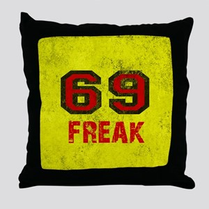 69 FREAK red black yellow vintage Throw Pillow
