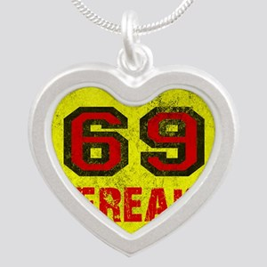 69 FREAK red black yellow vi Silver Heart Necklace