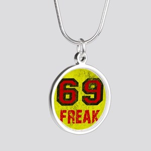 69 FREAK red black yellow vi Silver Round Necklace