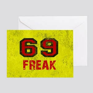 69 sex position greeting cards cafepress 69 freak red black yellow vintage greeting card m4hsunfo