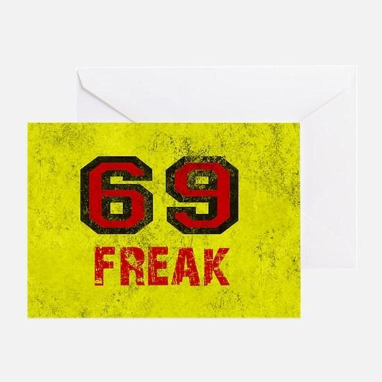 69 FREAK red black yellow vintage Greeting Card