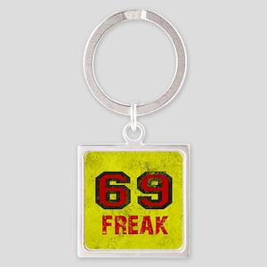 69 FREAK red black yellow vintage Square Keychain