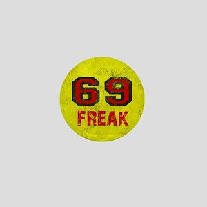 69 FREAK red black yellow vintage Mini Button