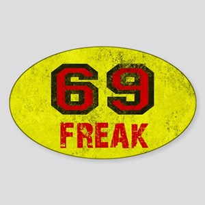 69 FREAK red black yellow vintage Sticker (Oval)