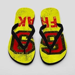 69 FREAK red black yellow vintage Flip Flops