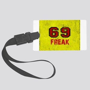 69 FREAK red black yellow vintag Large Luggage Tag