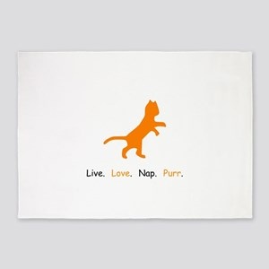 Cat Lovers Live Love Nap Purr 5'x7'Area Rug