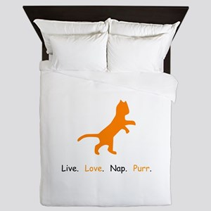 Cat Lovers Live Love Nap Purr Queen Duvet