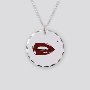 Sexy Lips Necklace Circle Charm