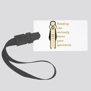 Cute Book Owl Reading Quote Large Luggage Tag