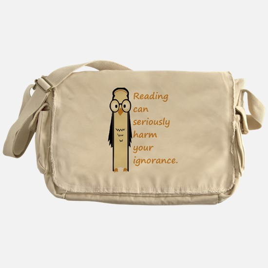 Cute Book Owl Reading Quote Messenger Bag