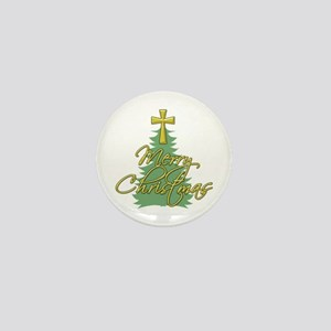 Christmas Tree with Christian Cross Mini Button