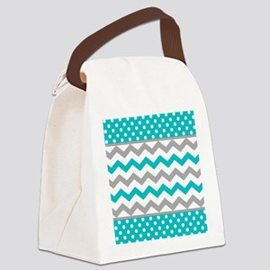 Teal and Gray Chevron Polka Dots Canvas Lunch Bag