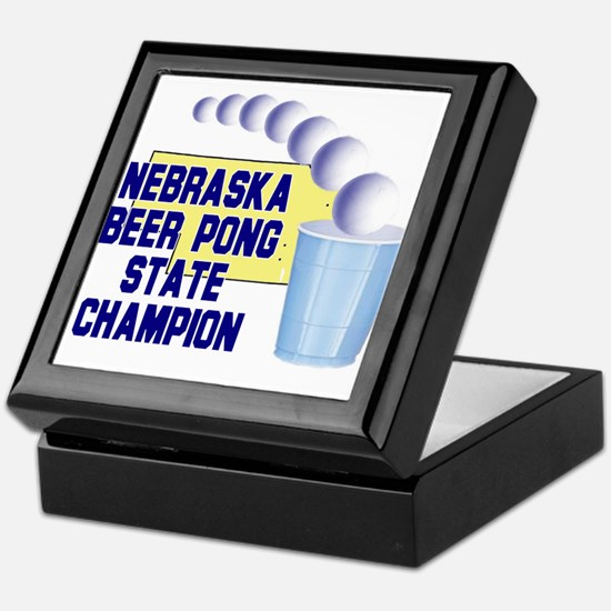 Nebraska Beer Pong State Cham Keepsake Box