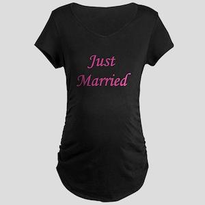 3-justmarried_pink_TR Maternity Dark T-Shirt
