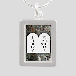 Ten Commandments Silver Portrait Necklace