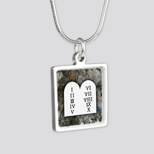 Ten Commandments Silver Square Necklace