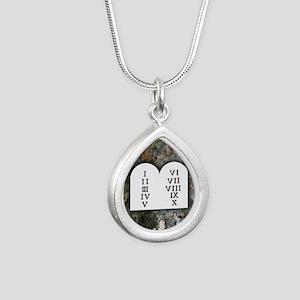 Ten Commandments Silver Teardrop Necklace