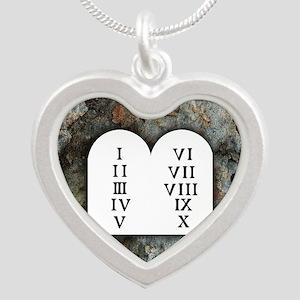 Ten Commandments Silver Heart Necklace