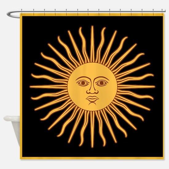 Celestial Golden Sun Shower Curtain