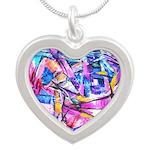 Fractal Prism1 Silver Heart Necklace