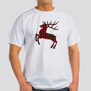 Black and Red Gingham Pattern Reindeer T-Shirt