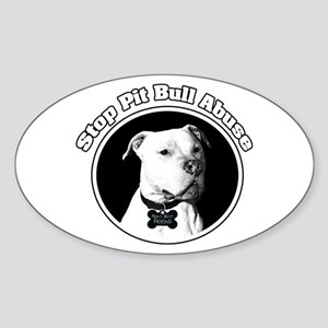 Stop Pitbull Abuse Oval Sticker