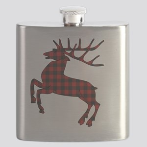 Black and Red Gingham Pattern Reindeer Flask