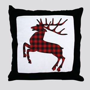 Black and Red Gingham Pattern Reindee Throw Pillow