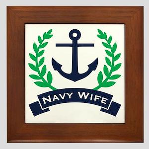 Navy Wife Anchor Framed Tile