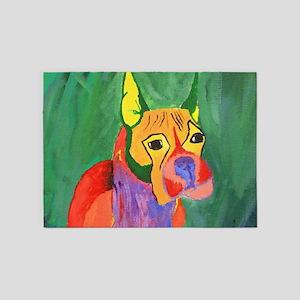 Boxer Dog Art 5'x7'Area Rug