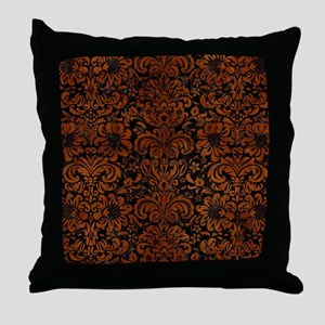 DAMASK2 BLACK MARBLE & BROWN BURL WOO Throw Pillow
